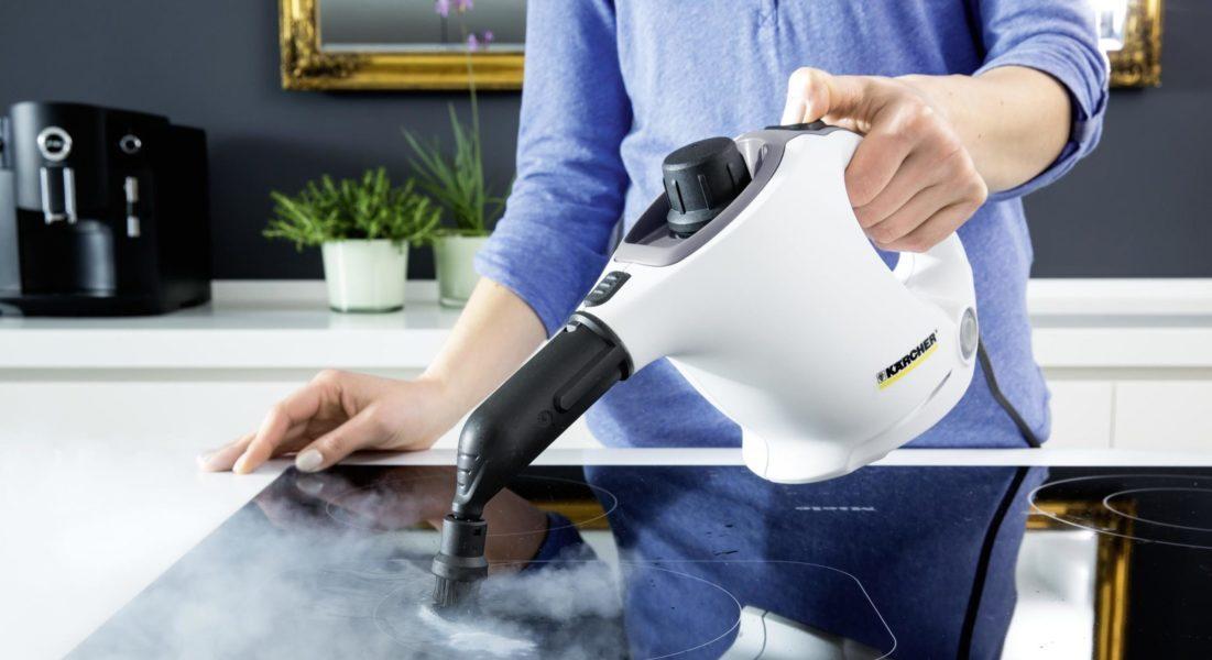 чистить паром плиту